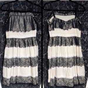 Anna Sui Chantilly Lace Tiered Babydoll Dress 0/XS